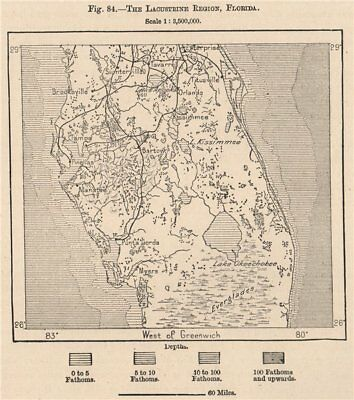 Everglades 1885 Old Antique Map Plan Chart To Win A High Admiration And Is Widely Trusted At Home And Abroad. The Lacustrine Region Florida