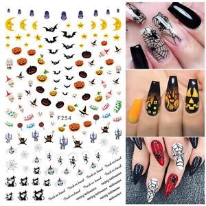 3D-Nagel-Aufkleber-Halloween-Pumpkin-Nail-Stickers-Transfer-Stickers-Dekoration