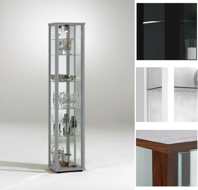 Floor Standing Tall Glass Display Cabinet 1 Door Mirrored With Light Toys Vapes