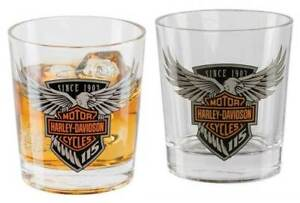 HARLEY-DAVIDSON-115th-ANNIVERSARY-DOUBLE-OLD-FASHIONED-GLASS-SET-HDX-98701