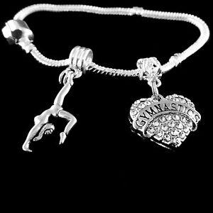 9a95866dd Image is loading Gymnastics-charm-bracelet-Gymnastics-2-charms-bracelet- Gymnast-