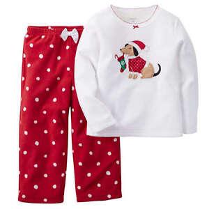 48c75f01d NWT Girls 10 CARTER S 2pc Fleece Christmas Puppy Dog Pajama Set CUTE ...