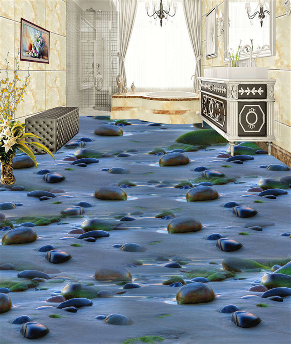Bumpy Cobbled Road 3D Floor Mural Photo Flooring Wallpaper Home Print Decoration