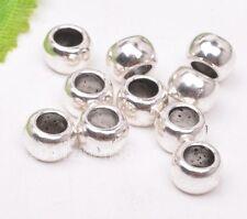 50pcs Tibetan silver loose simple big hole bead loose spacer beads 6x4mm B3182