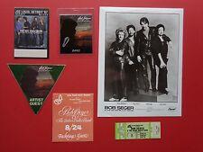 BOB SEGER,Promo photo,4 RARE Backstage passes,concert ticket,RARE Originals,