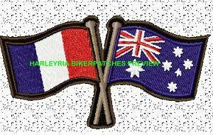 AUSTRALIA-FRENCH-CROSSED-FLAGS-BIKER-PATCH-100-X-55MM