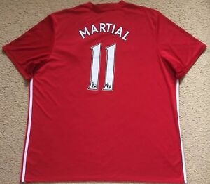 online store d8dc6 6a402 Details about #11 MARTIAL Manchester United Soccer Jersey Football Shirt -  adidas - Mens 3XL