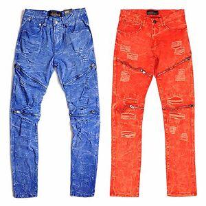 Copper-Rivet-Men-039-s-Skinny-Fit-Marble-Wash-Biker-Basic-Pants-With-Zippers-amp-Rips