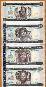 UNC Set 10 PCS 1 Nakfa 1997 Eritrea Pick- 1