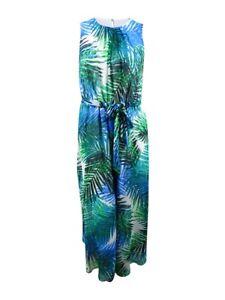 Calvin-Klein-Women-039-s-Plus-Size-Palm-Print-Maxi-Dress