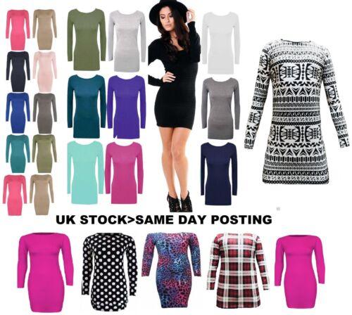 Womens Ladies Plain Stretch Mini Bodycon Dress Tunic Top Jersey Full Sleeve LnRn