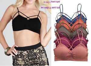 c9099234efd Criss Cross Caged Strappy Stash Bra Crop Top Bralette Bustier Padded ...