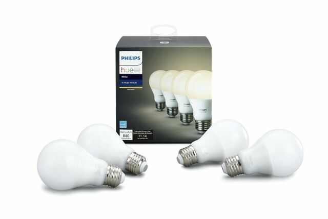 Hue White A19 4 Pack (Compatible with Alexa, Apple Home and Google Assistant)