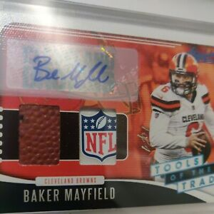 """2019 Absolute  Baker Mayfield 1/1 Tools of the Trade """"Platinum"""" NFL  Shield Auto"""