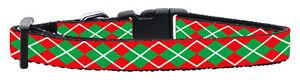 Red-amp-Green-Argyle-Designer-Dog-Collar-Medium-25-45cm