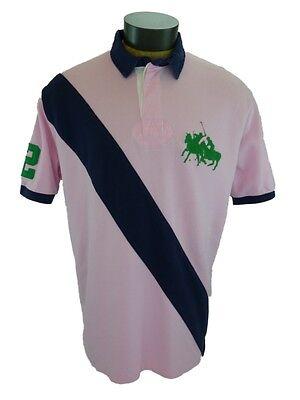 XL New Ralph Lauren Big Pony Polo Shirt Pink Navy Sash Mercer Club Match 2 Mens
