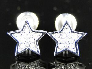10K-White-Gold-Mens-Ladies-Star-Shape-8-Mm-Diamond-Stud-Earrings