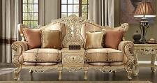 Homey Design HD-1633 Victorian Upholstery Antique Gold Carved Wood Sofa