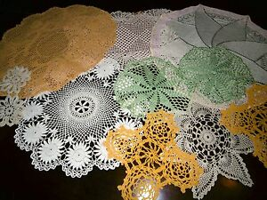 Vintage Huge Job lot of Ten Hand Crochet  Knitted Mats Beige Green yellow - <span itemprop=availableAtOrFrom>Newcastle upon Tyne, United Kingdom</span> - Vintage Huge Job lot of Ten Hand Crochet  Knitted Mats Beige Green yellow - Newcastle upon Tyne, United Kingdom