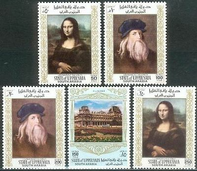 Mittlerer Osten Jemen Aden Upper Yafa 1967 ** Mi.23/27 A Gemälde Paintings Da Vinci Mona Lisa