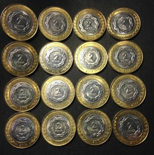 FREE SHIP Old Argentina Coin Lot 16 High Grade 2 Peso Bi-Metal Coins