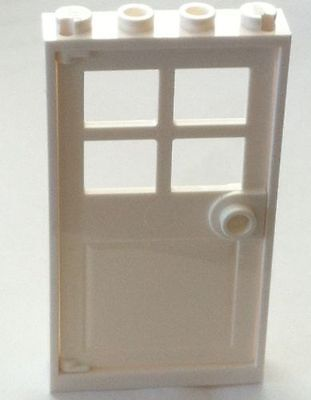 no Frames Part Lego X12 White Door 1x4x6 With 4 Panes And Stud Handle Bulk Lot