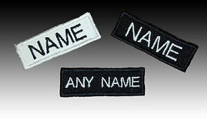 Image is loading SMALL-Embroidered-Name-tag-Patch-SEW-ON-or-