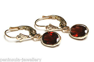 9ct-Gold-Garnet-LeverBack-Oval-Drop-Earrings-Gift-Boxed-Made-in-UK