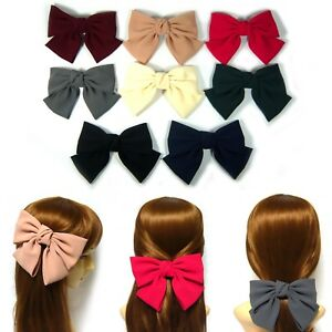Women Girl Big Large Soft Fabric Satin Ribbon Bow Knot Barrette Hair