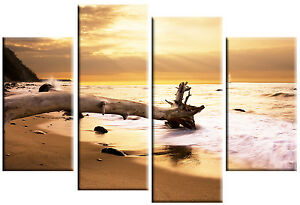 LARGE-CANVAS-PICTURE-WALL-ART-SUNSET-SEA-DRIFTWOOD-SPLIT-4-PANEL-100-cm-wide