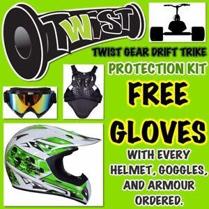 Drift-Slider-Trike-Helmet-Goggles-Armour-Free-Gloves-Green-Adult-Large