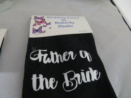 with White Glitter writing Black Wedding Socks