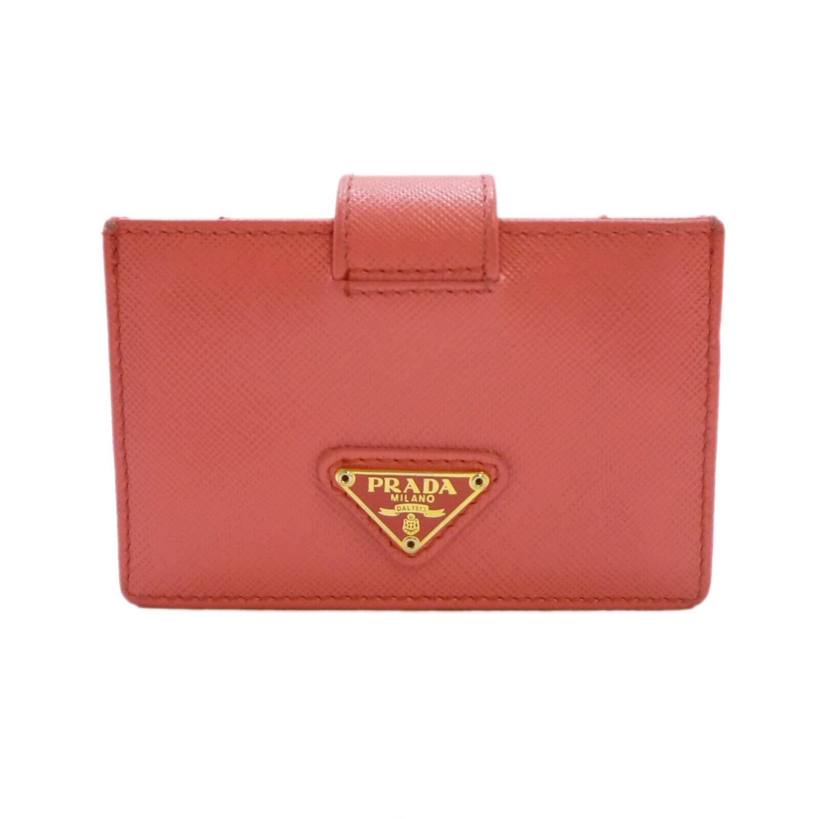 Authentic PRADA Saffiano Credit Card Case Pink Leather 1M1211 #S406034