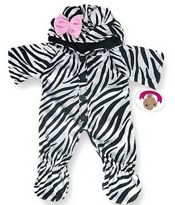 Teddy Bear Clothes fit Build a Bear Teddies Zebra Onesie Romper Clothing Outfit