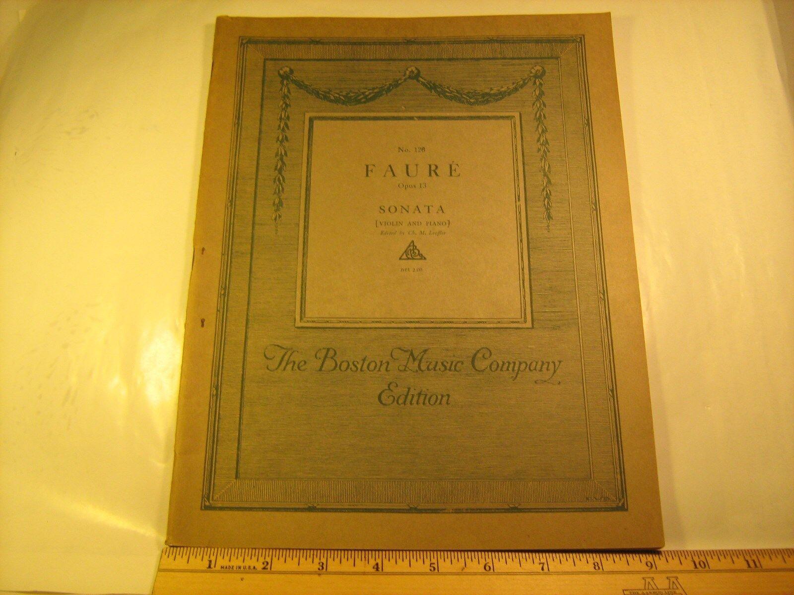 Vintage Sheet Music FAURE Opus 13 SONATA  126 Boston Music Co 1919