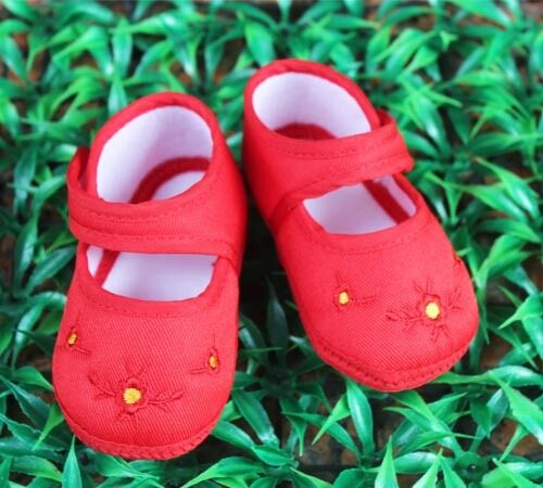 Infant baby gril red embroidered wintersweet Cotton Soft bottom shoe 3-14 months