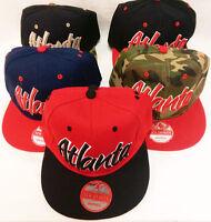 Atlanta Snapback Hat 3d Embroidered Two Tone Flat Bill Cap Hip Hop