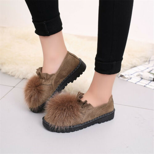Women Loafers Oxford New uk2.5-6 Round Toe Fluff Ball Pumps Flat Boat Shoes