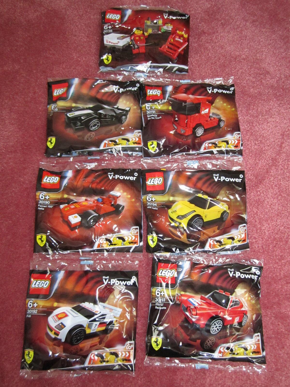 LEGO FERRARI SHELL V POWER PIT CREW & FERRARI CARS 30196 & 30195 - NEW SEALED