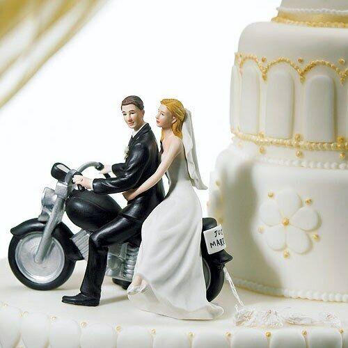 Wedding Cake topper peint main porcelaine Mariée et marié équitation Moto