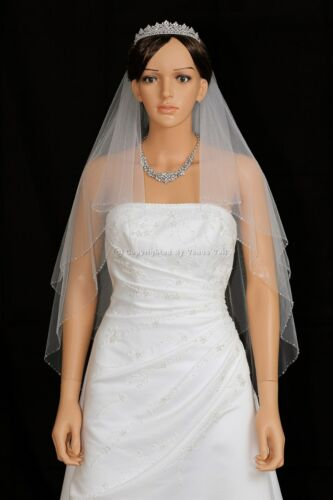 2 Layer Bridal White Ivory Fingertip AB Crystal Beaded Edge Wedding Veil