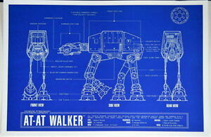 At at walker blueprint star wars zanart entertainment ebay image is loading at at walker blueprint star wars zanart entertainment malvernweather Gallery