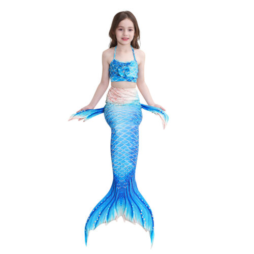 Kids Girl Fairy Mermaid Tail Bikini Sets Swimmable Swimming Swimwear Costumes