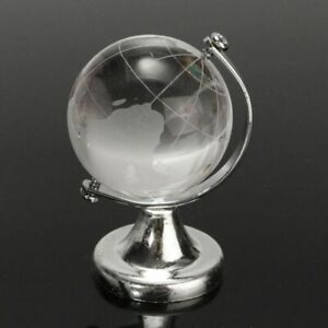 Round Earth Globe World Map Crystal Glass Clear Paperweight Stand Desk Decor