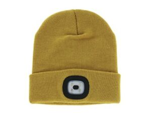 2c4cd0289230c LED Mustard Beanie Warm Knitted Hat USB Rechargeable Flashlight Cap ...