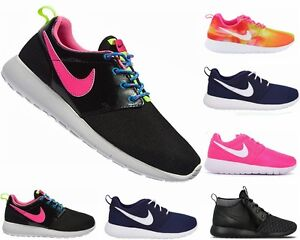 GIRLS-BOYS-NIKE-ROSHERUN-GS-ROSHE-ONE-LADIES-ROSHE-RUN-BLACK-PINK-TRAINERS-1-6