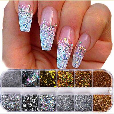 christmas nail art glitter powder sequins mixed dust tips
