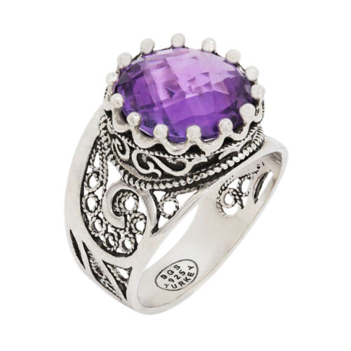 925 STERLING SILVER /& PURPLE AMETHYST FILIGREE PAISLEY ROUND RING SIZE 11