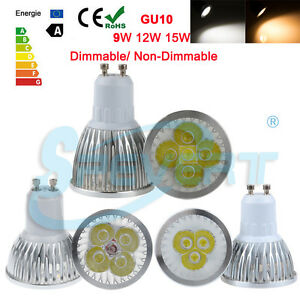 Non-Dimmable-9W-12W-15W-GU10-LED-Spotlight-Down-Lamp-Warm-Day-White-Globe-Bulb