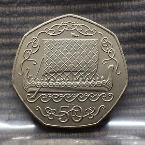 Isle of Man 50 Pence Coin 1980 VIKING LONG BOAT